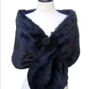 Accessories - SACASUSA Black Faux Fur Shawl Beaded Embellishment